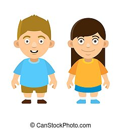 Two Carroon Style Cute Kids Boy and Girl on White Background...
