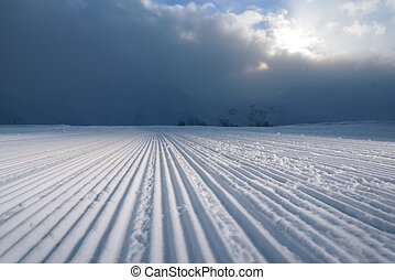 processed snowcat track stripes on snow - processed snowcat...