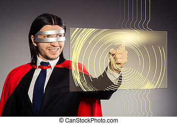 Man pressing virtual buttons in futuristic concept