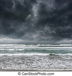 Dark stormy sky and sea waves. - Dark stormy sky and stormy...