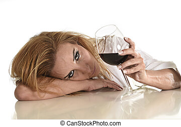 caucasian blond wasted depressed alcoholic woman drinking...