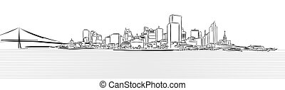 San Francisco Downtown from Pier Sketch