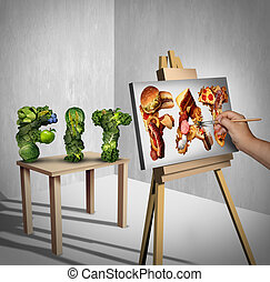 Food Temptation Concept - Food temptation concept as a green...