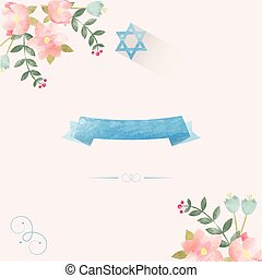 Jewish wedding invitation template Hand drawn watercolor
