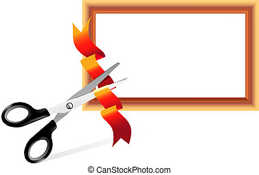 Scissors cutting ribbon - Scissors cutting ribbon. Open...
