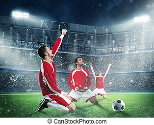 Exultation of a football players - Soccer players exults on...