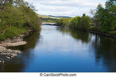 Pitlochry Scotland UK view of River Tummel in Perth and...
