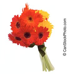 gerbera flowers bouquet - Low poly illustration of gerbera...