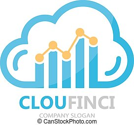 Vector logo combination of a cloud and financial graph -...