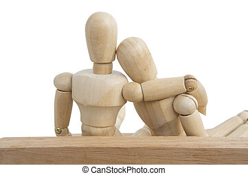 isolated wooden dummy white background love relationship -...