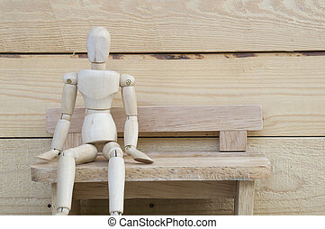 dummy wood man acting alone wooden chair - dummy wood man...