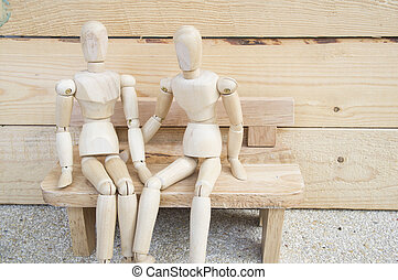 couple two people sit on bench relationship wooden