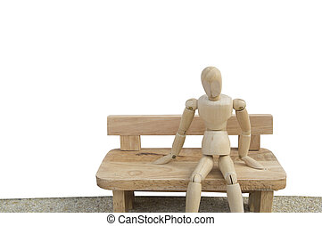 man sit on bench wooden dummy emotion feeling - man sit on...