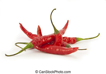 Fresh Whole Red Chillies isolated on white