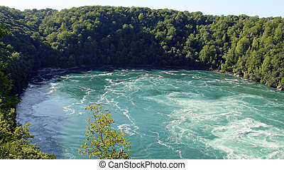 Niagra river surrounded by trees