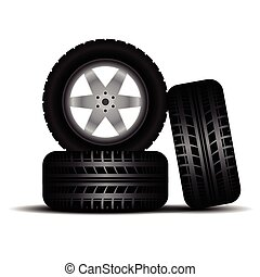 Truck tire tracks with wheels and shadow - Three car wheels...