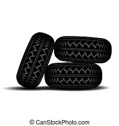 Truck Tire track set - Three truck tire tracks isolated on...