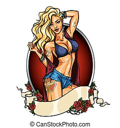 Party girl in bikini. Label with ribbon banner. Pin up
