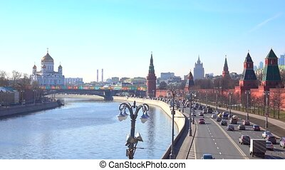 Establishing shot of Moscow Kremlin and Moscow river,...