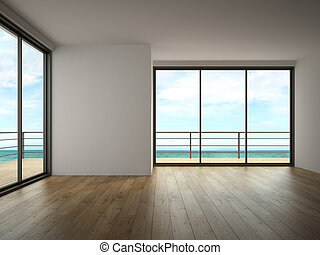 Interior of empty room with sea view 3D rendering