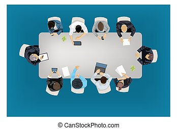 Business meeting concept illustration in an aerial view with...