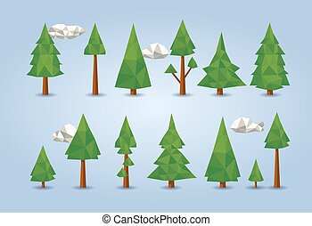 low poly conifer trees set for poster designs, banners,...