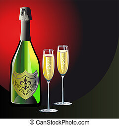 Champagne background - Bottle of champagne and two glasses,...