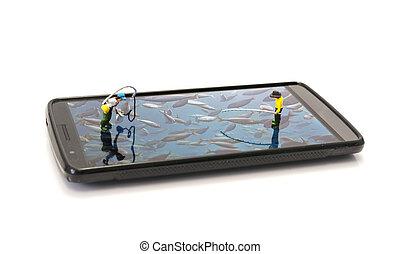 phishing on mobile phone - little miniature fishing man...