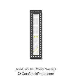 Road font sign, Symbol I, Object on a white background