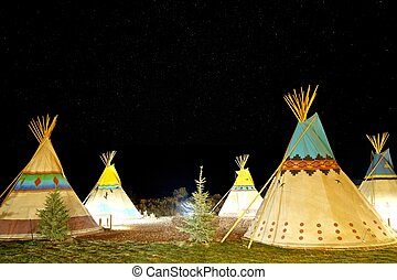 American First Nation Teepee at Night under Stars.