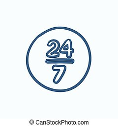 Open 24 hours and 7 days in wheek sketch icon - Open 24...