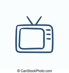 Retro television sketch icon - Retro television vector...