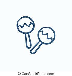 Maracas sketch icon - Maracas vector sketch icon isolated on...