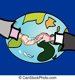 shaking hands around the world - vector illustration of a...
