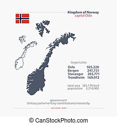 norway - Kingdom of Norway isolated maps and official flag...