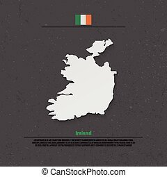 ireland shadow - Republic of Ireland isolated map and...