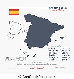 spain - Kingdom of Spain isolated maps and official flag...