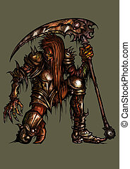 Rotten knight in rusty armor - Illustration undead monster...
