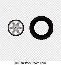 Car wheel and tire track