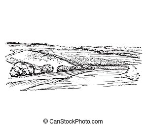Landscape with Fields. Hand drawn nature sketch