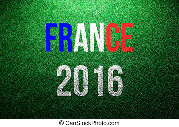 France 2016 sign. Green artificial turf. Studio shot. -...