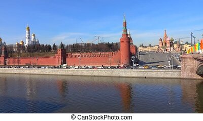 Moscow river and Kremlin embankment sunny day time lapse...