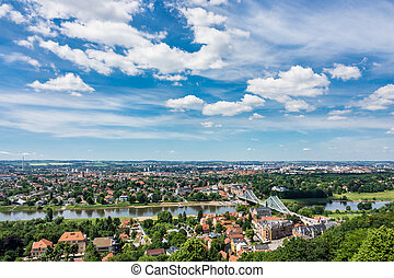 View over the river Elbe to Dresden Germany
