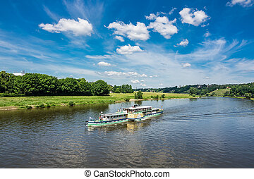 Passenger ship on the river Elbe in Dresden (Germany).