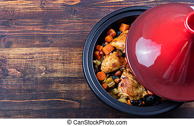 Tagine with cooked chicken and vegetables Traditional...