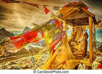 Budda statue on mountain Gokyo Ri Himalayas, Nepal - Budda...