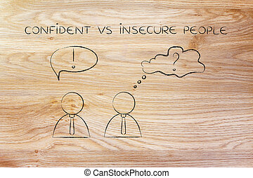 men with contrasting reactions, confident vs insecure...