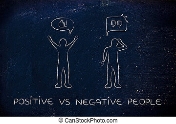 positive vs negative people reactions, with thumbs up and...