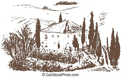 romantic landscape, farm - hand drawn illustration