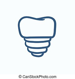 Tooth implant sketch icon - Tooth implant vector sketch icon...